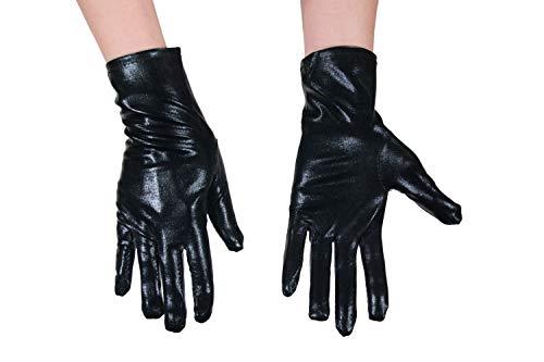 dressmeup - K0802B-BLACK Handschuhe Damen Herren Karneval Halloween Metallic Look Glänzend Schwarz Roboter SciFi (Black Panther Kostüm Frauen)