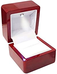 TOOGOO(R) Rings Display Box Storage Soft Velvet Tray Case Holder Stand Display Storage Box Show Jewelry Organiser LED Light Ring Box Red