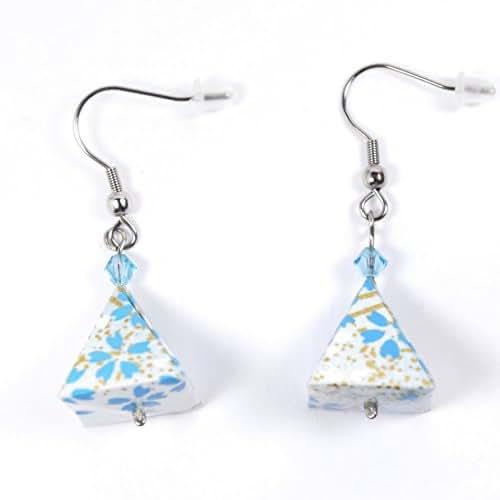 Boucles d'oreilles pyramides origami bleues et dorées - crochets inox