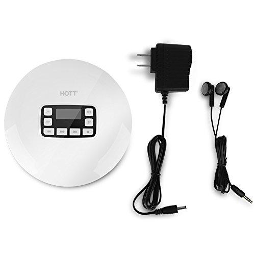 VBESTLIFE Tragbarer CD Player, drahtloser HiFi Spieler und Stereo Musik CD Player Spieler mit Kopfhörer,unterstützt CD, CD RW, MP3, CD DA, WMA (Weiß)(EU)