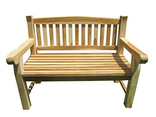 2-Sitzer Teakbank Gartenbank ink. ausziehbarem Tablett ca. 120 cm breit Sitzbank Parkbank Holzbank Teak Bank