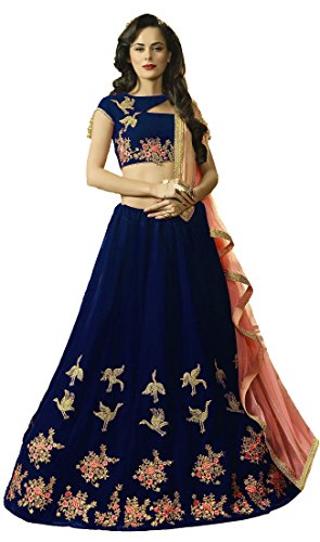 Lovisa Fashion Women's Velvet Lehenga Choli (Bird_Blue_Semi-Stitched_Lehenga Choli)