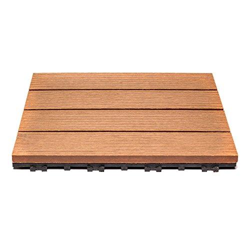 Teak-veranda-möbel (SAM® Terrassen-Fliese aus WPC Kunststoff, 11er Spar Set für 1 m², Farbe teak, Garten-Fliese mit 4 Latten, Bodenbelag mit Drainage Unterkonstruktion, Klick-Fliesen für Balkon)