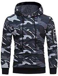 60319f20f2f1 Kingwo Homme Camouflage Hoodie Sweat à Capuche Pull à Capuche Manches  Longues Sweat-Shirt