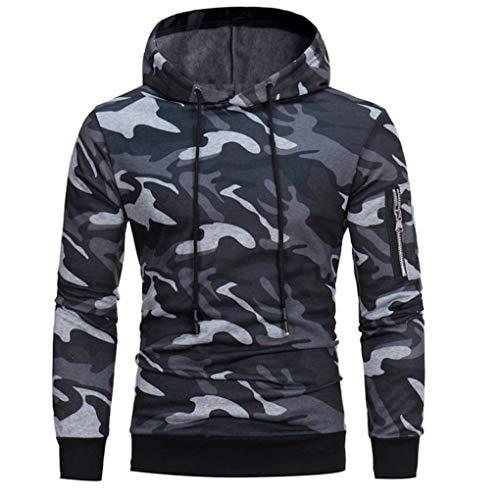 Kingwo Homme Camouflage Hoodie Sweat à Capuche Pull à Capuche Manches Longues Sweat-Shirt (M, Gris)