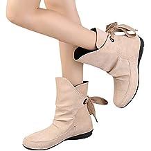 Botas Cortas para Mujer Vendaje, Zapatos de Damas para Mujer con Cordones Hebilla