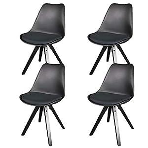 heyesk Moderne Esszimmerstühle Set von 4 natürlichen Holzbeine gepolsterte Stühle für Das Esszimmer Küche Wohnzimmer Schlafzimmer (Schwarz)