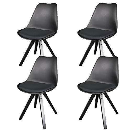 heyesk Esszimmerstühle 4er Set mit gepolsterten Beinen aus Naturholz für das Esszimmer Küche Wohnzimmer Schlafzimmer (Schwarz)