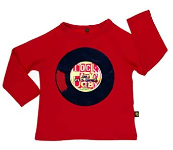 Rockabye-Unisex Baby Record Long Sleeve T-Shirt Red 3-6 Months