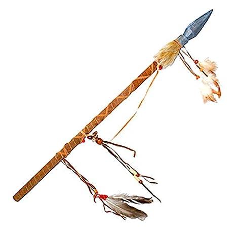 erdbeerclown - Spielzeug Speer Indianer Kostüm Indianerkostüm Waffe mit Federn Kunstlederdetails, Mehrfarbig