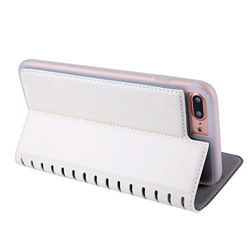iPhone 7 Plus Hülle, BONROY® Premium PU Leder Schutzhülle für iPhone 7 Plus Flip Bookstyle Wallet Schale Weich TPU Silikon Back Cover Etui Skin Shell Handyhülle Mit Magnetverschluss und Standfunktion  Weiß