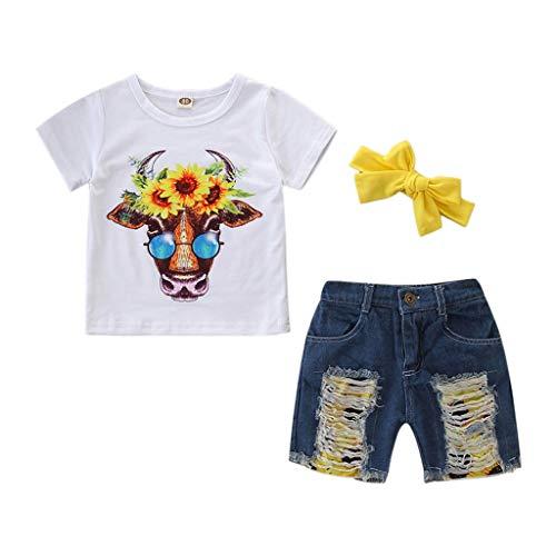 Mädchen Kostüm,Kleinkind Baby Mädchen Kleidung Sonnenblume Cartoon Kuh Kurzarm T-Shirt+Jeans Shorts+Stirnband Babykleidung Outfit Set(Weiß,5-6 Jahre/120) (Sonnenblume Kostüm Für Kleinkind)