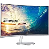 Samsung 27 inch (68.6 cm) Curved Bezel Less LED Monitor - Full HD, VA Panel with VGA, HDMI, Display, Audio in, Heaphone Ports - LC27F591FDWXXL (Silver)