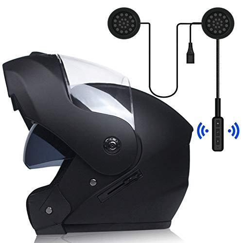 MOPHOTO Casco de moto de cara completa con audífonos Bluetooth, casco modular de doble visera para motocross, para hombres y mujeres, negro mate con auriculares