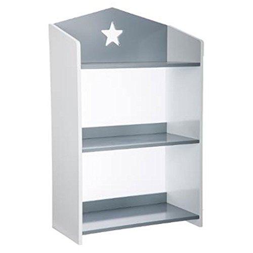 Biblioteca 3 estanterías de madera - Motivo Estrella - Colores GRIS y BLANCO
