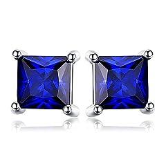 Idea Regalo - Jewelrypalace Quadrata 0.8ct Sintetico Blu Zaffiro 925 Sterling Argento Stud Orecchini