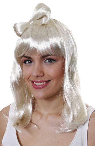 POPSTAR SCHLEIFE BLONDE PERÜCKE WIE LADY GAGA POP B U36165 (Erwachsene Lady Dragon Perücke Für)