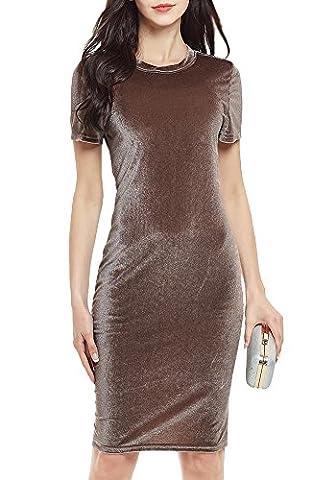 Minetom Damen Elegant Sommer Kleid Vintage Rundhals Kurzarm Ballkleid Cocktailkleid Partykleid Retro Dress Bleistift Kleider Braun DE (Brown Kleid Jeans)