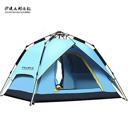 shuntian Épaississez Le Costume_Le Bateau Camel Tente extérieure 2 Tente de Camping Protection Solaire Automatique, Double Punch Trois Tente hydraulique Orange, Double