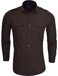 Brave Soul para hombre camisa de manga larga algodón Smart Casual Moda Bolsillos en el pecho
