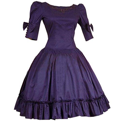 Vintage Lolita Kurzaermel Ruffles Retro Style Klassische Kleider Fancy Dress Cosplay Kostuem Hepburn Abendkleider Lolita Kleid,Chinese L,Dark purple (Dark Elf Cosplay Kostüme)