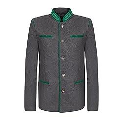 Trachtenjanker - Trachtenjacke für Herren - edler Trachten Janker in anthrazit grau schwarz mit grün passend zur Trachten-Lederhose fürs Oktoberfest, Hochzeit, Vereinsfest (S, Anthrazit)