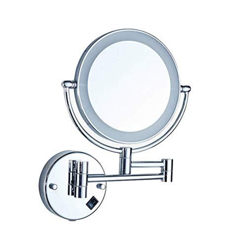 JXQ Le miroir de vanité de salle de bains a mené avec le miroir télescopique se pliant monté au mur de miroir de beauté de lumière Miroir de vanité à double face de salle de bains, blanc
