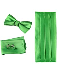 Green Party Cummerbund Marriage Lime Green Soild Pre-tied Bow Tie Cufflinks Hanky And Cummerbund Set With Free...