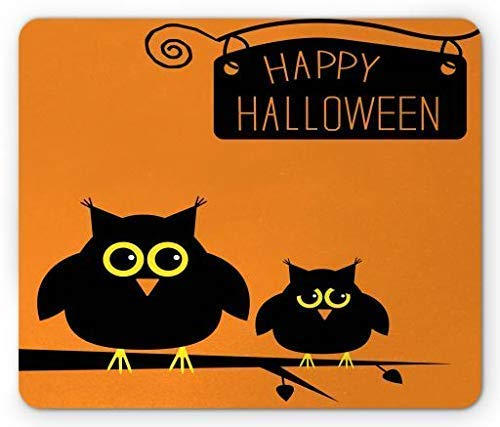 se Pad, Cute Funny Anxious Owls on Branch with Happy Halloween Quoted Image, Standard Size Rectangle Non-Slip Rubber Mousepad, Orange Yellow and Black ()
