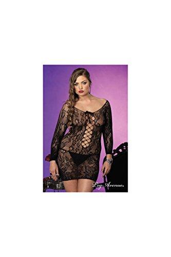 Size Valentine Plus Kostüme (Leg Avenue Langarm Blumen Lace Mini-Kleid Model 86546Q Übergröße Schwarz, 1er)