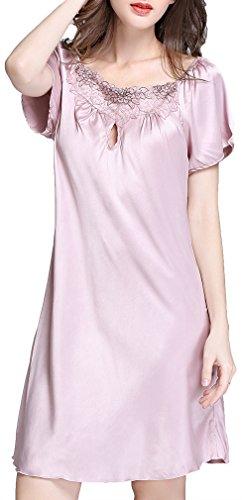 FLYCHEN Damen Nachthemd aus Satin Kurzarm Spitze Negligee Babydoll Sleepshirt Nachtwäsche Gr. S-2XL Lila Pink
