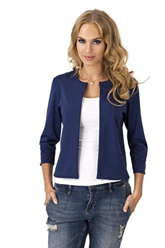 Damen Blazer Kurzjacke Jacke in 6 Farben Gr. S M L XL, 36 38 40 42, M139 Dunkelblau S/36