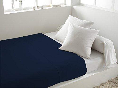 Lenzuolo piano in cotone 260 x 300 cm tinta unita blu marino