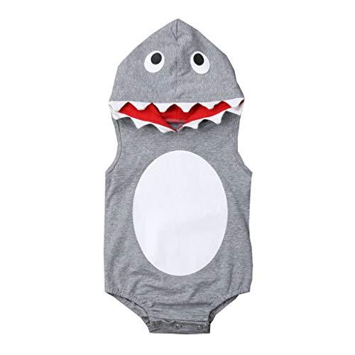 LEXUPE Säuglingsbaby-Jungen u. Mädchen-ärmellose Karikatur-mit Kapuze Spielanzug-Bodysuit-Kleidung(Grau,59)