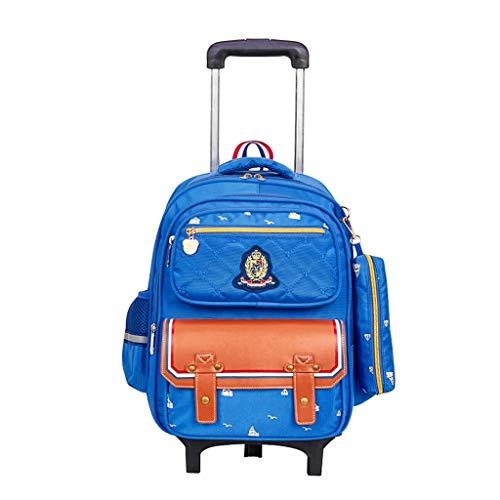 Trolley thbeibei borse di scuola del carrello dello zaino a ruote dei bagagli di rotolamento per gli allievi delle ragazze dei ragazzi (colore : azzurro, dimensioni : 31 * 15 * 41cm)