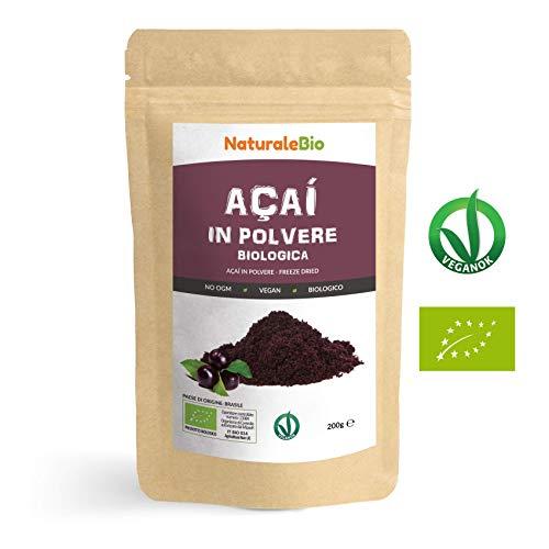 Bacche di Açai Biologiche in Polvere [ Freeze - Dried ] 200 gr. 100{63041f042357eb04019fb9c24cd52de039b1cf5a0dfed6f036b1f713a34a13d7} Prodotto in Brasile, Liofilizzato, Crudo ed Estratto dalla Polpa della Bacca di Acai. Superfood Ricco di Antiossidanti e Vitamine.