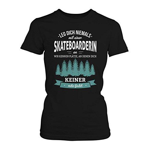 Fashionalarm Damen T-Shirt - Leg dich niemals mit einer Skateboarderin an   Fun Shirt mit Spruch als Geschenk Idee für Skater Girls & Rip Chicks Schwarz