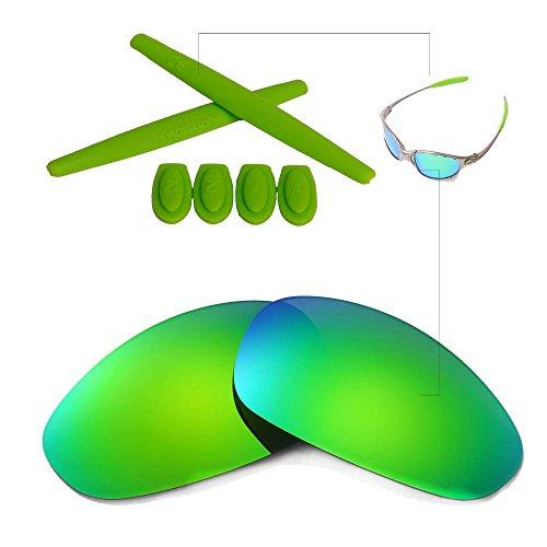 Walleva Linsen und Gummi-Kit (Earsocks + Temple Shocks) Für Oakley Juliet (Emerald Polarisierte Linsen + Grün Gummi)