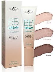 Belle Azul BB cream 8 in 1 Benefits – BB crème 8 en 1 – teint zéro défaut ✔ anti-imperfections ✔ hydratation ✔ light – medium – dark – 30ML – Vegan ✔