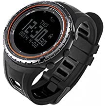 SUNROAD FR801B Multifunction Sports Watch -Pedometer Stopwatch Altimeter Barometer Thermometer CompassTimer LCD Display EL Backlight Outdoor Watch (Orange)