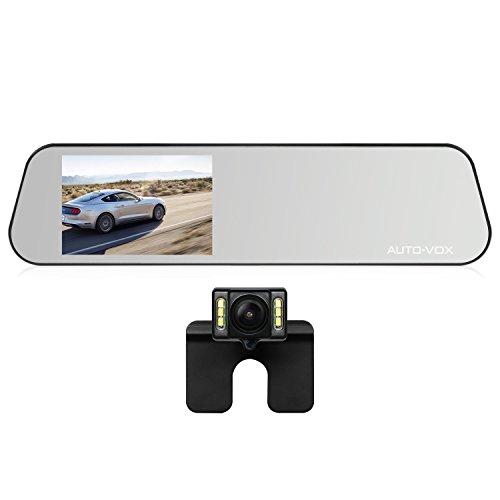 AUTO-VOX M6 Rückfahrkamera mit Rückspiegel Monitor,Dash Cam FHD 1080P Dual Lens,4.5' IPS TouchScreen Spiegel DashCam,G-Sensor,Bewegungserkennung,Parkmonitor,Loop-Aufnahme,IP68 Wasserdichte Autokamera LED Nachtsicht
