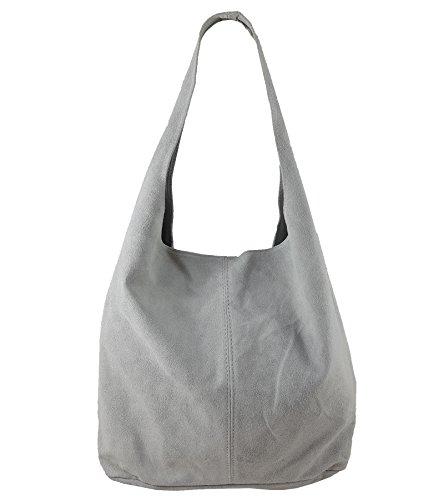 Damen Ledertasche Shopper Wildleder Handtasche Schultertasche Beuteltasche Metallic look (Grau)