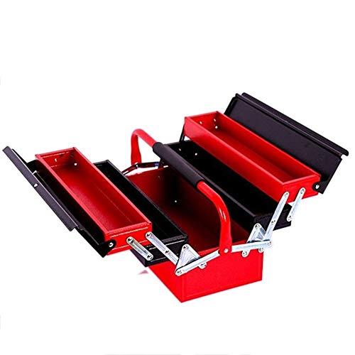 Werkzeug Aufbewahrungsbox Drei Etagen Eisen Werkzeugkasten Tragbare Klapp Hardware Werkzeugkasten Haushalt Wartung Elektriker Anti-Fall-Werkzeugkoffer werkzeugkasten (Color : Red)