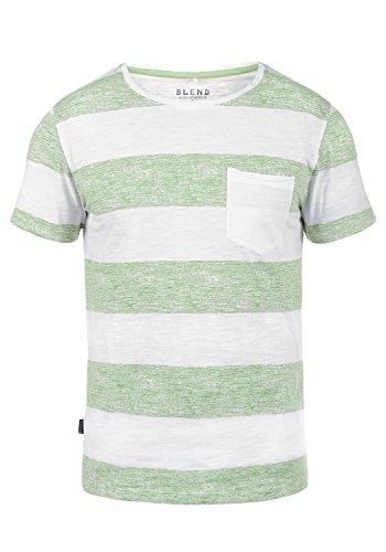 Blend Vegas Herren T-Shirt Kurzarm Shirt Mit Streifen Und Rundhalsausschnitt 100% Baumwolle, Größe:XL, Farbe:Foam Green (77206)