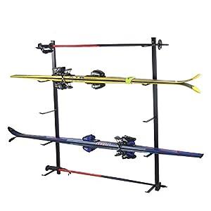 4U® Skihalter Skiträger Skistöcke Ski Aufbewahrung Wandhalter Halter für 5 Paar Gerätehalter Wandmontage