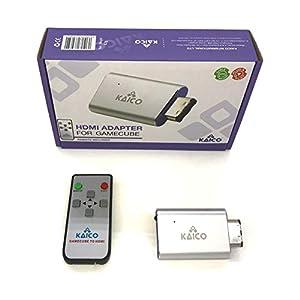HDMI-Adapterkabel für den Nintendo Gamecube mit GCVideo-Software. Unterstützt 2x Line-Doubling und enthält eine Fernbedienung. Eine einfache Plug & Play-Lösung von Kaico