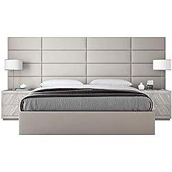 VANT - Panneaux muraux d'appoint rembourrés - Paquet de 4 - Facile à installer - Double - Tête de lit king size (Suede Neutre, 91cm de large)
