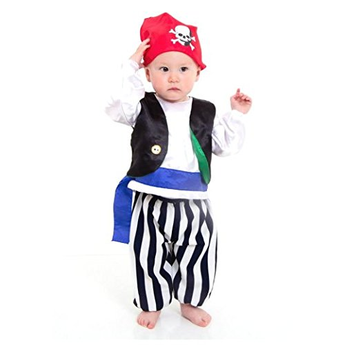 Piratenkostüm für Babys und Kleinkinder - Pirat Seeräuber Kostüm - Gr 68 (0-6 Monate) Slimy Toad
