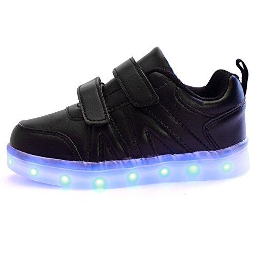 DoGeek-Led Chaussures Lumière Clignotant - Garçon Fille Baskets mode - USB Rechargeable 7 couleurs lumière Noir