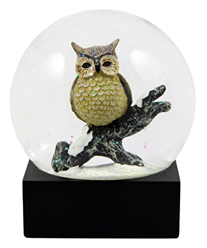 Uhus, auf Baum Ast thront Glitzer Wasser Globe Nocturnal Bird Hunter Collectible Figur 11,4cm hoch ()